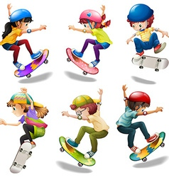 Male and female skaters vector