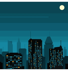 Night city with moon vector image vector image