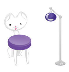 original designer cat-chair and lamp vector image