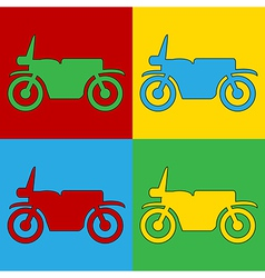 Pop art motorcycle icons vector image