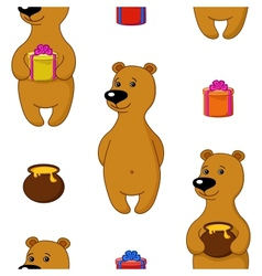 Seamless background bear with gifts vector image