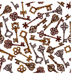 Seamless pattern of sketch vintage keys vector