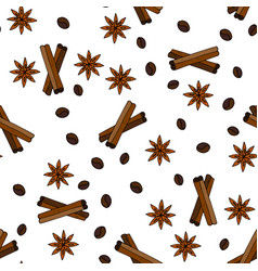 Seamless pattern with coffee grains vector