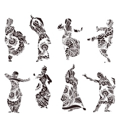Silhouettes indian dancers in mehndi style vector