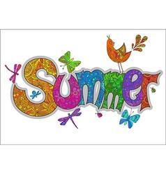 summer text with flowers dragonflies beetles bird vector image vector image