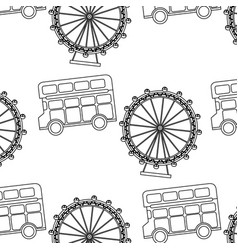 uk london double bus decker ferris wheel symbol vector image