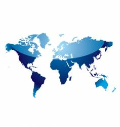 world map reflect blue vector image