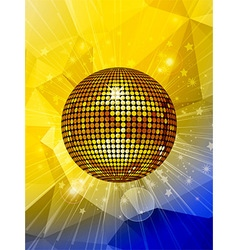 Disco ball over star burst and geometric vector