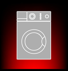 Washing machine sign postage stamp or old photo vector