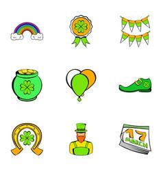 saint patrick icons set cartoon style vector image