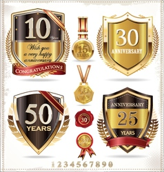 Anniversary retro shields vector