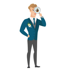 Caucasian groom with magnifying glass vector