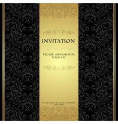 Black and gold ornamental invitation card vector image