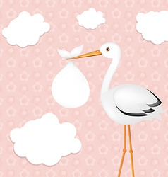 Stork With Girl Baby vector image