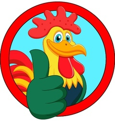 Cute rooster cartoon thumb up vector
