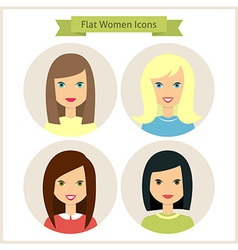 Flat women characters circle icons set vector
