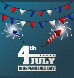 4th july independence day garland fireworks vector