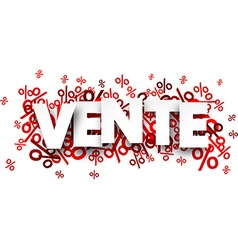 Vente paper note over percent signs vector