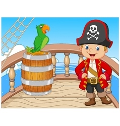 Cartoon pirate on the ship with green parrot vector