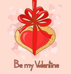 Card for valentines day with heart made of cookies vector