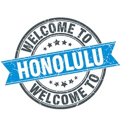Welcome to honolulu blue round vintage stamp vector