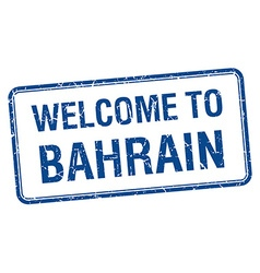 Welcome to bahrain blue grunge square stamp vector