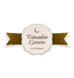 Ramadan kareem eid mubarak paper label with ribbon vector