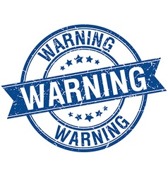Warning grunge retro blue isolated ribbon stamp vector