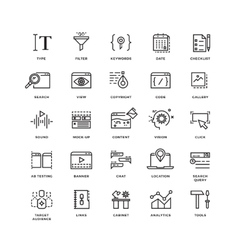 Seo and development line thin icons vector
