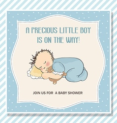 Baby boy shower card with little baby boy vector