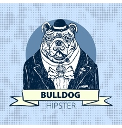Hand Drawn Portrait of French Bulldog in vector image