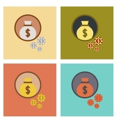 Assembly flat icons poker money bag vector