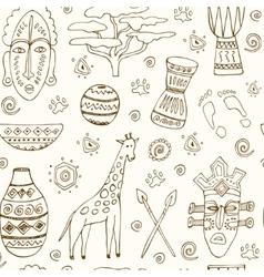 Africa sketch seamless pattern vector