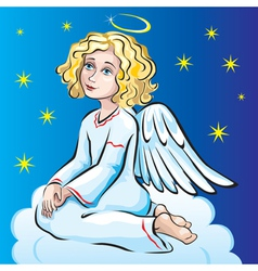 Angel sitting on a cloud vector