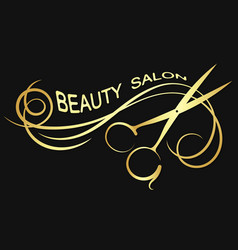 beauty salon golden silhouette vector image vector image