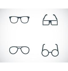 black glasses icons set vector image