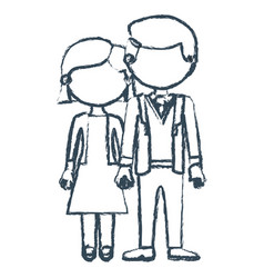 blurred blue contour faceless couple woman with vector image vector image