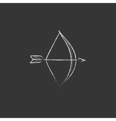 Bow and arrow drawn in chalk icon vector