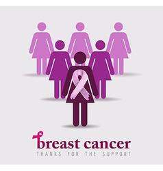 Breast cancer awareness design of pink women vector