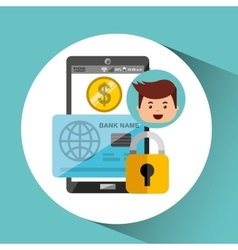 Business man secure money online credit card vector