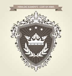 Coat of arms - medieval heraldry shield and crown vector image vector image