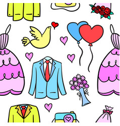 Collection stock of wedding style in doodles vector