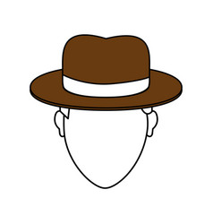 Color image cartoon faceless man with brown hat vector