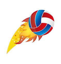 Colorful olympic flame with volleyball ball vector