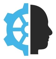 Cyborg gear flat pictogram vector