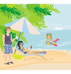 Family holidays by the sea vector image