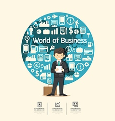 Flat Icons with businessman character design vector image vector image