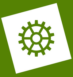 Gear sign white icon obtained as a result vector