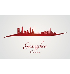 Guangzhou skyline in red vector image