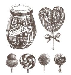 hand drawn caramels set vector image